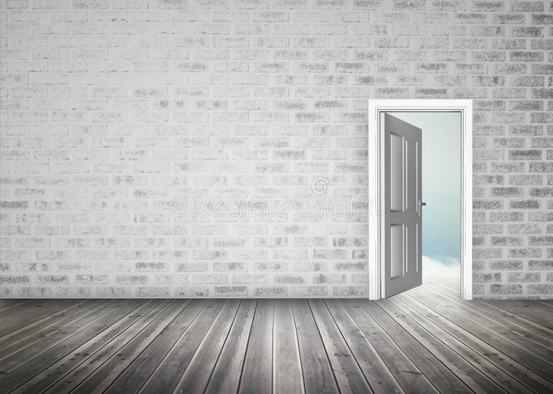 Doorway opening to blue sky in grey brick wall room stock illustration
