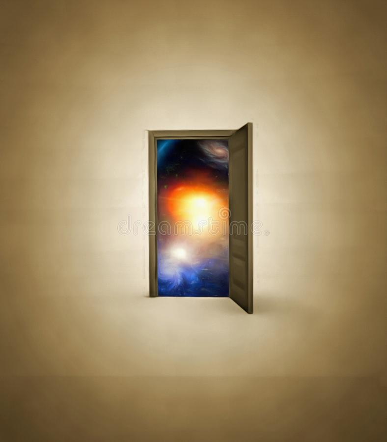 Doorway opens to space. Doorway opens to deep space royalty free stock photography