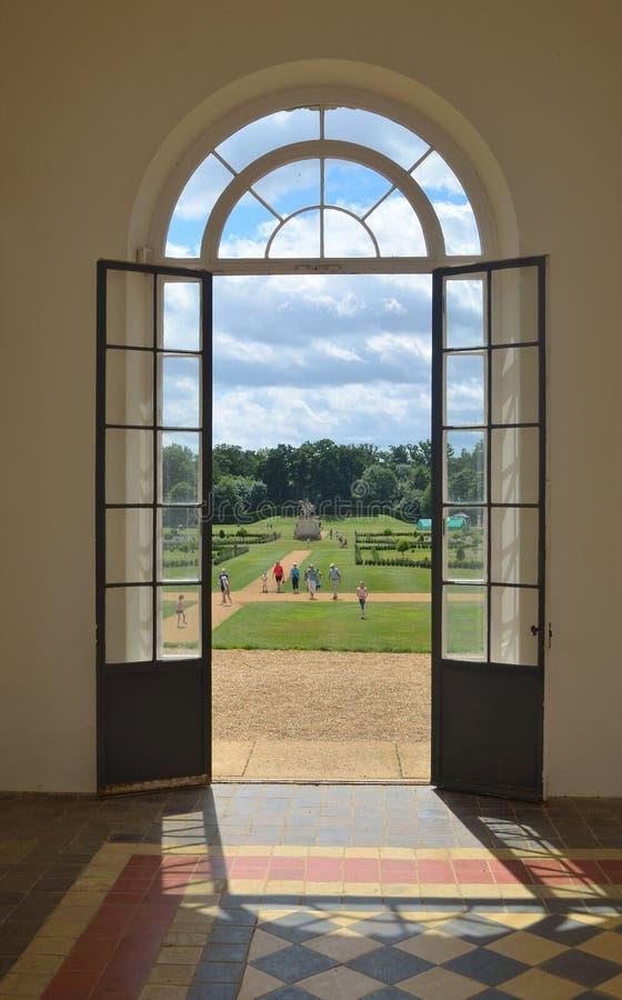 Doorway in Orangery Wrest park stock images