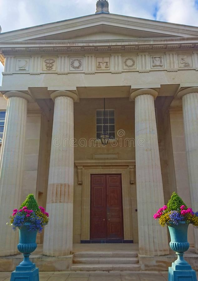 Doorway with pillars and flower vase on the sides. For architectural design royalty free stock photo