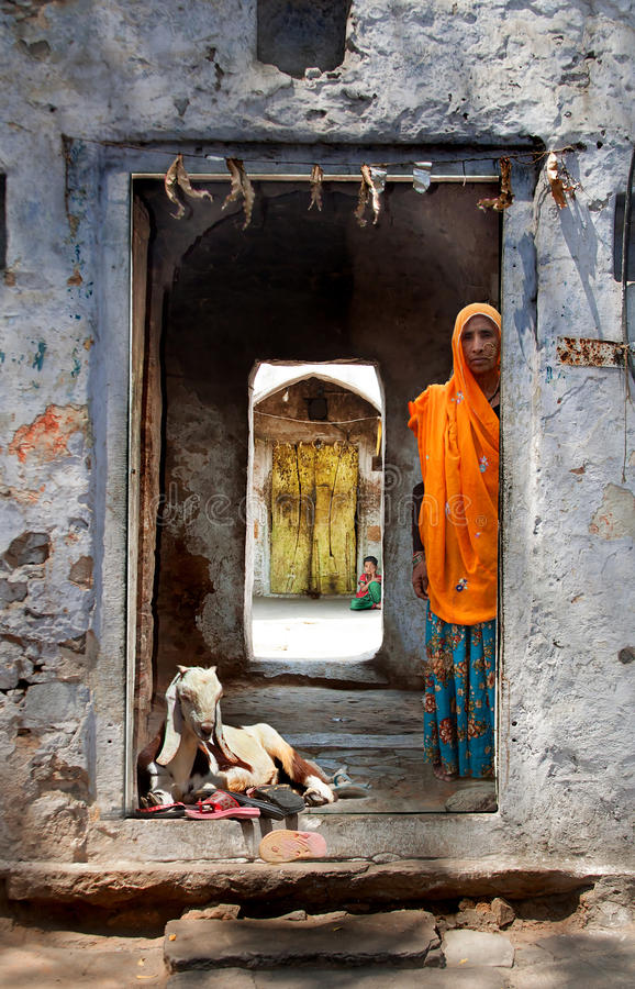 Doorway to a house in Samode, India royalty free stock photos