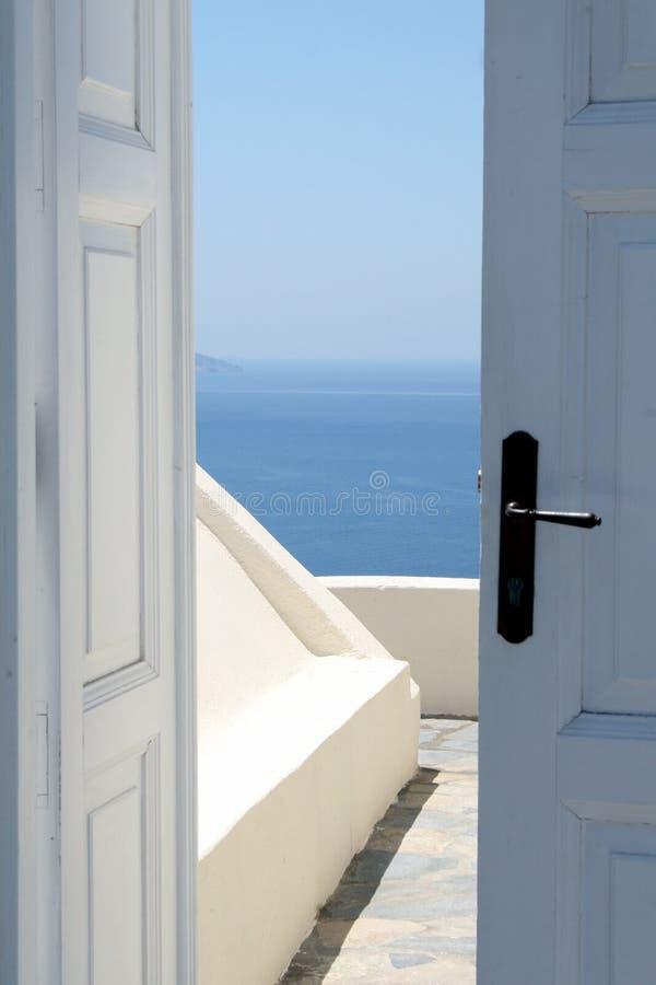 Doorway to ocean view royalty free stock image