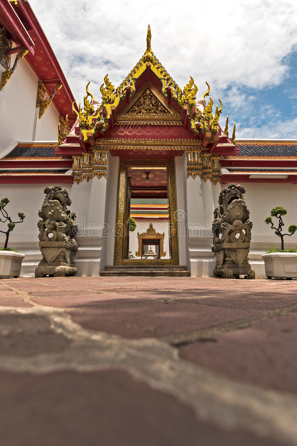 Doorway at Wat Pho Buddhist temple. stock photography