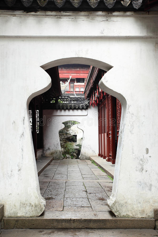 Doorway in Yu Yuan Garden royalty free stock photo