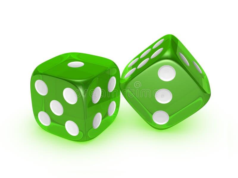 Doorzichtige groen dobbelt op witte achtergrond royalty-vrije illustratie