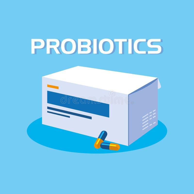 Doos capsulesgeneesmiddelen probiotics royalty-vrije illustratie