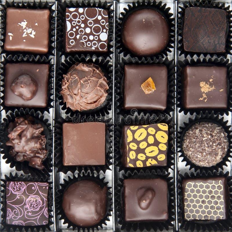 Doos diverse chocoladepralines stock foto