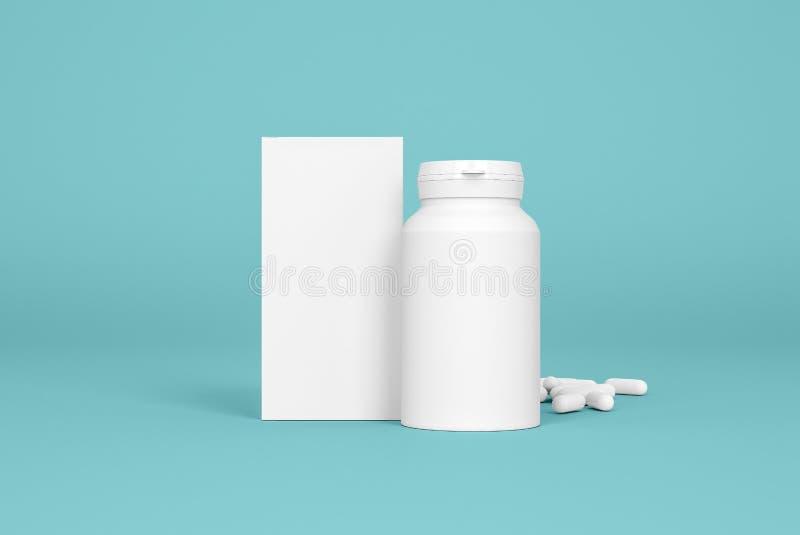 Doos en fles van pillen op de blauwe achtergrond stock illustratie