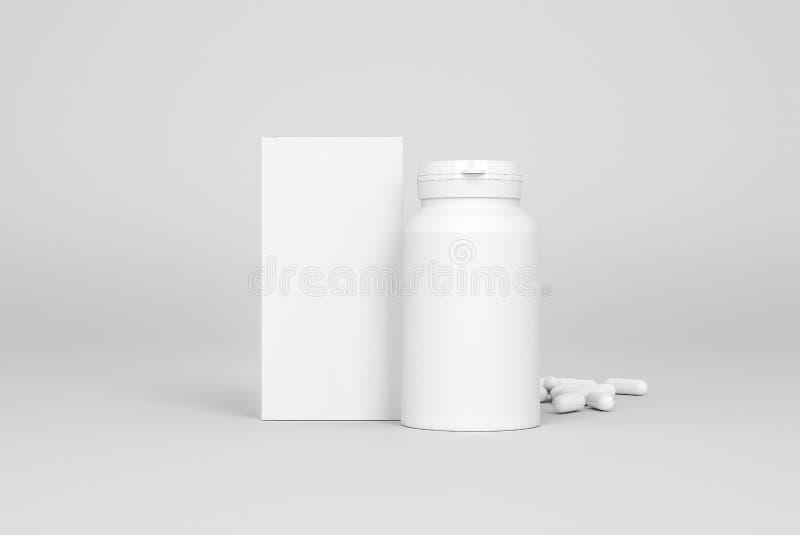 Doos en fles van pillen op de grijze achtergrond royalty-vrije illustratie