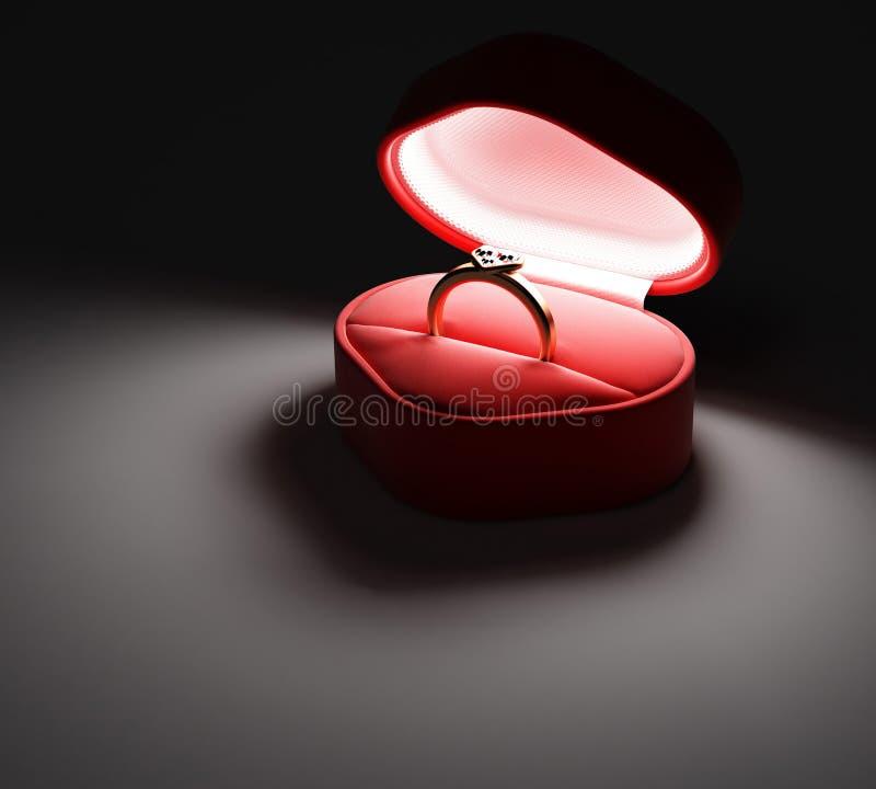 Doos en gouden ring met diamanten stock illustratie