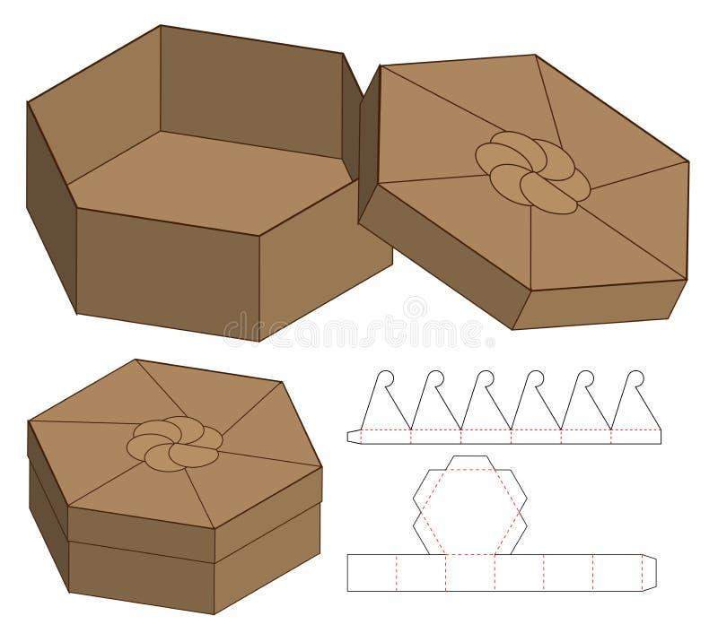 Doos het ontwerp van het de besnoeiingsmalplaatje van de verpakkingsmatrijs 3d model royalty-vrije illustratie