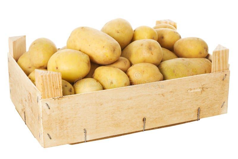 Doos met aardappels royalty-vrije stock foto's