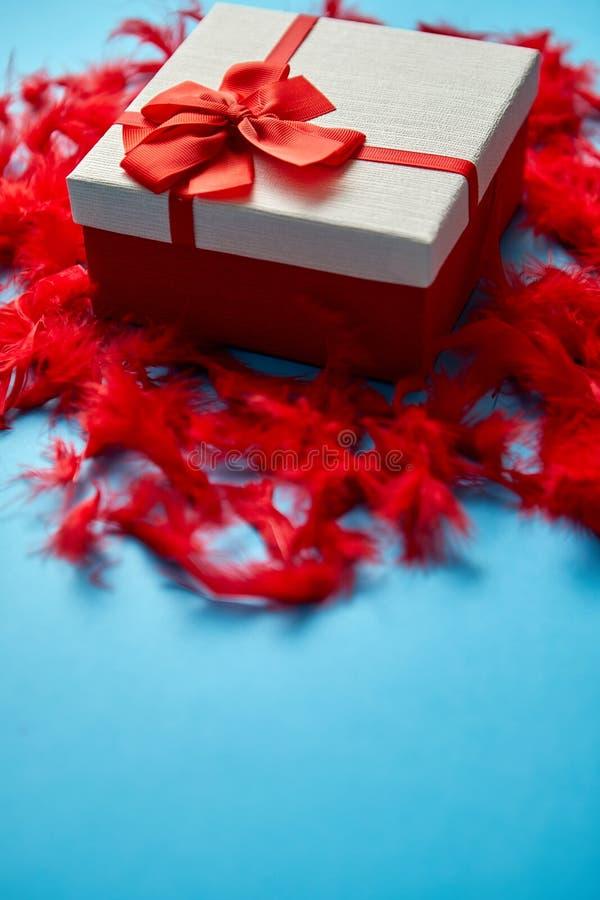 Doos met een gift, met een lint wordt op rode veren wordt geplaatst gebonden die stock afbeelding