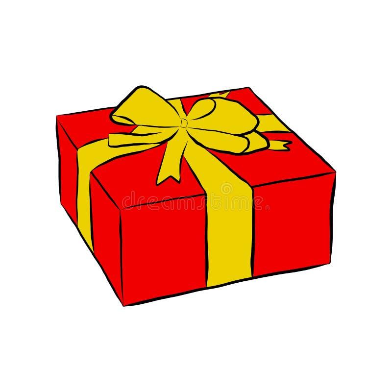 Doos met gift en boog, stock illustratie