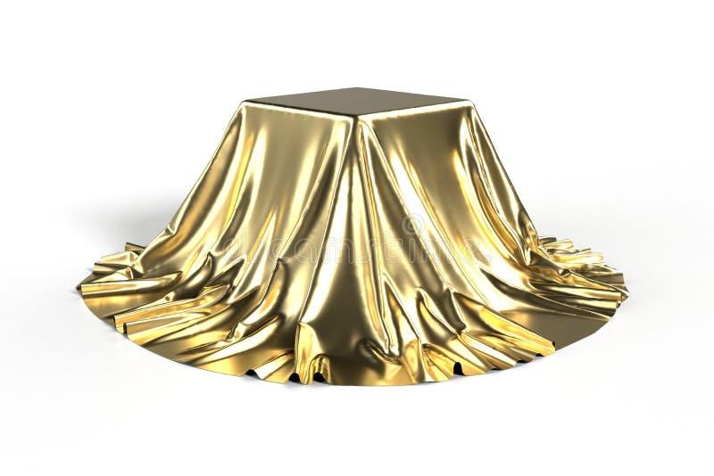 Doos met gouden stof wordt behandeld die vector illustratie