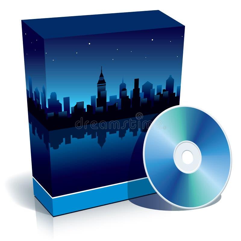 Doos met moderne stad bij nacht en CD royalty-vrije illustratie