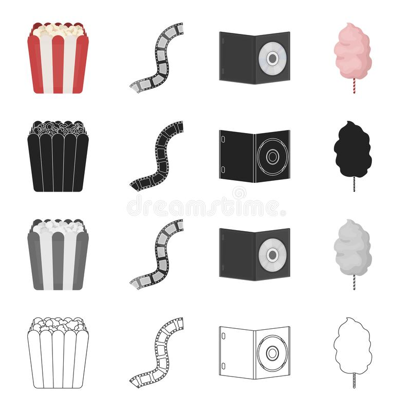Doos met popcorn, film, CD-schijf, zoet katoen Film en bioskoop vastgestelde inzamelingspictogrammen in beeldverhaal zwart zwart- royalty-vrije illustratie