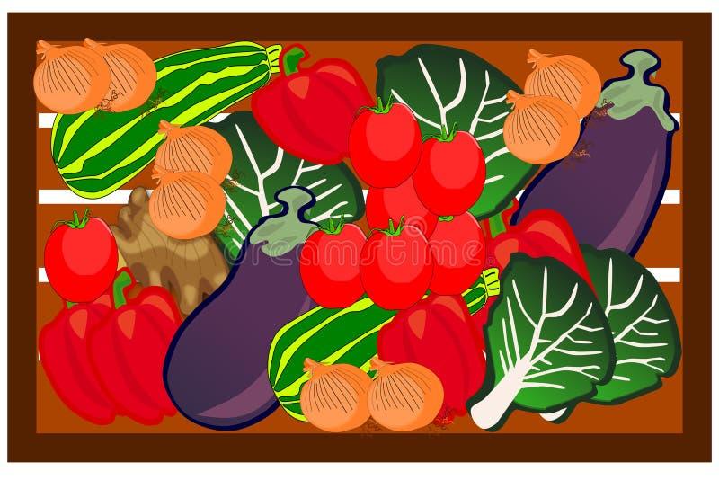 Doos met Verse Vruchten - Digitaal Beeld royalty-vrije illustratie