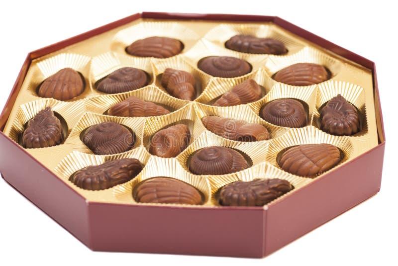 Doos van Chocoladesuikergoed stock foto