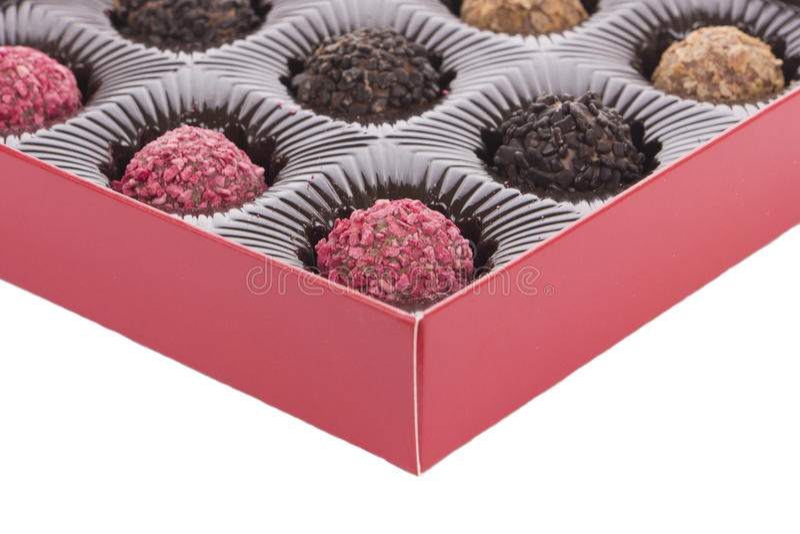 Doos van chocoladetruffel royalty-vrije stock fotografie
