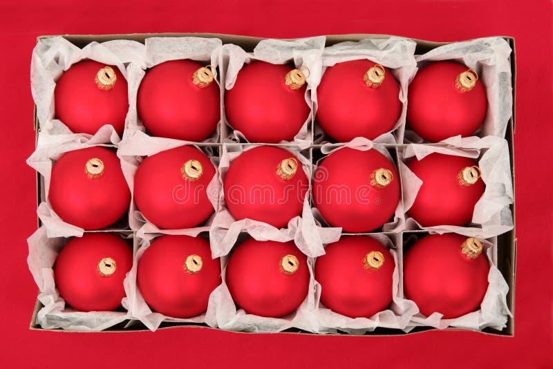 Doos van de Ornamenten van Kerstmis stock foto