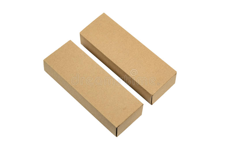 Doos van het twee pakket de bruine karton voor lange punten Geïsoleerd model, royalty-vrije stock foto