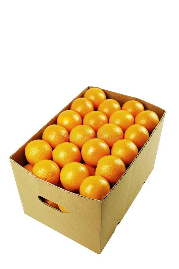 Doos van sappige sinaasappelen stock afbeelding