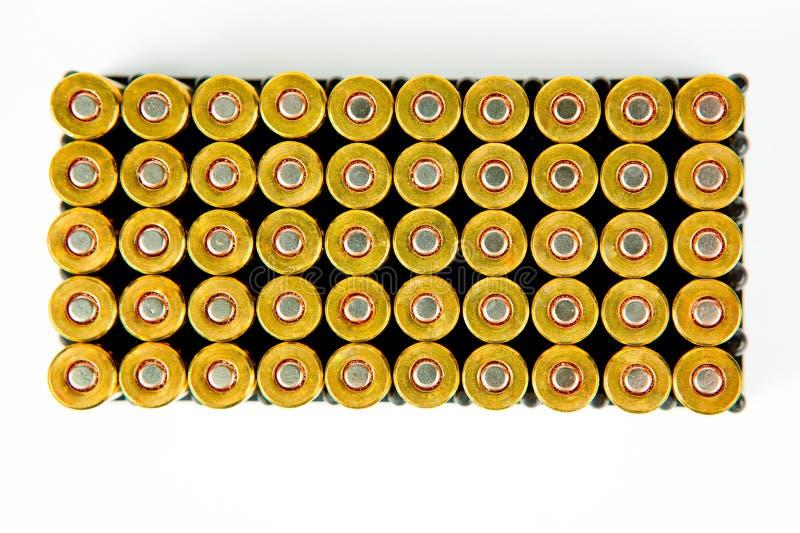 Doos van 50 stukken van 9 van de pistoolmm munitie - hoogste mening royalty-vrije stock afbeeldingen