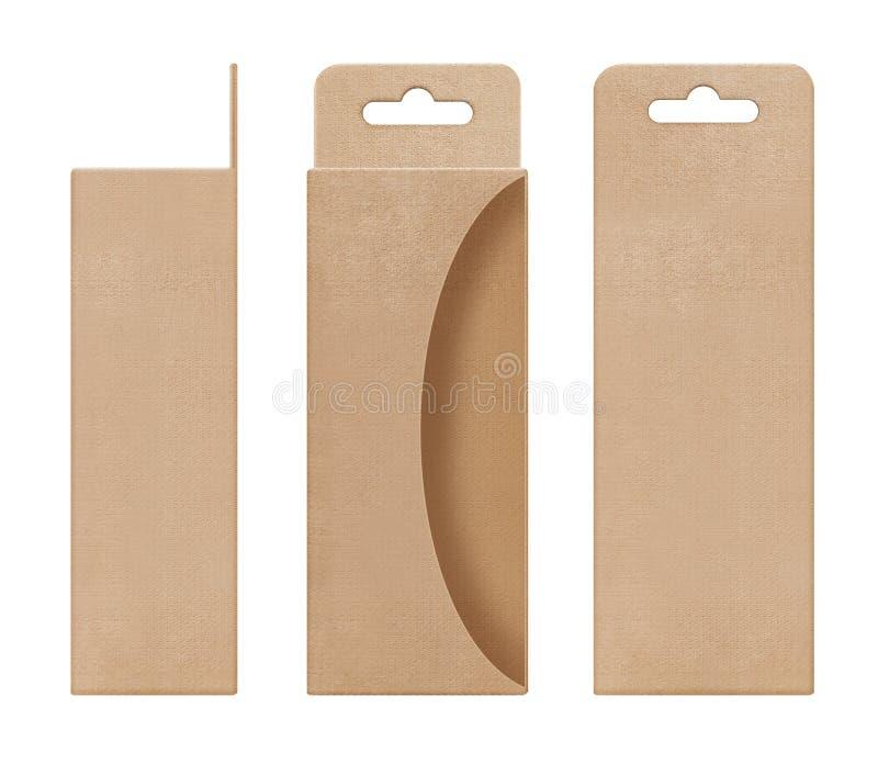 Doos, verpakking, doos bruin voor het hangen van het verwijderde open lege malplaatje van de venstervorm voor het pakket van het  royalty-vrije stock afbeeldingen