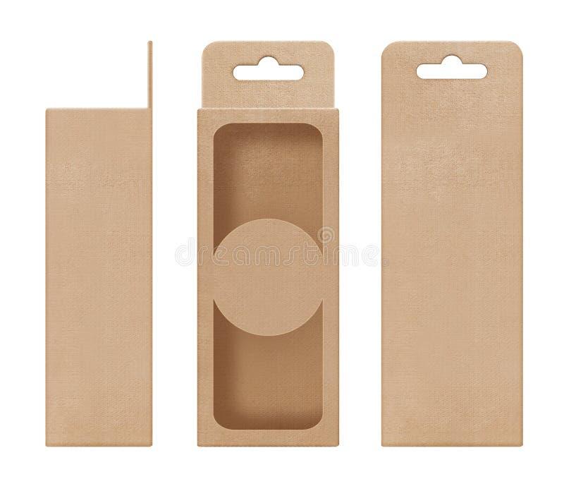 Doos, verpakking, doos bruin voor het hangen van het verwijderde open lege malplaatje van de venstervorm voor het pakket van het  stock fotografie