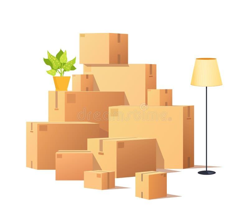 Dooskarton, Gesloten de Ladingsvector van Kartonpakketten royalty-vrije illustratie