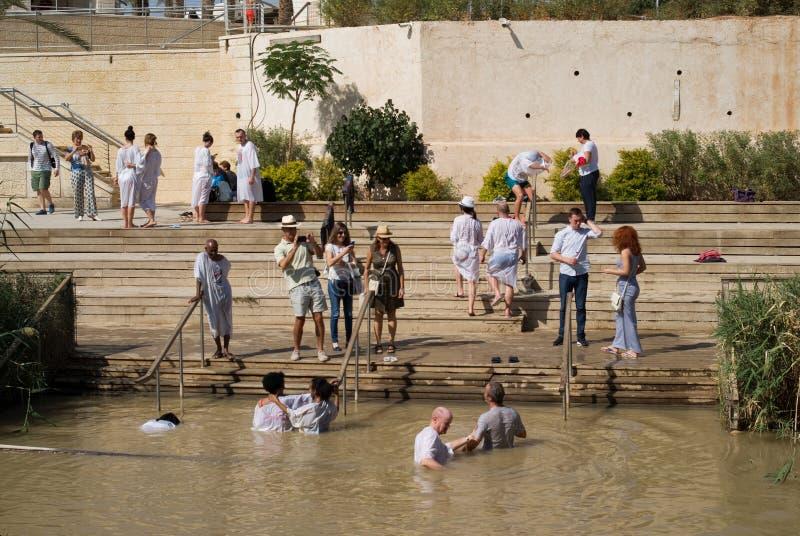 Dop- plats på Jordan River, Qasr al-Yahud, Israel fotografering för bildbyråer