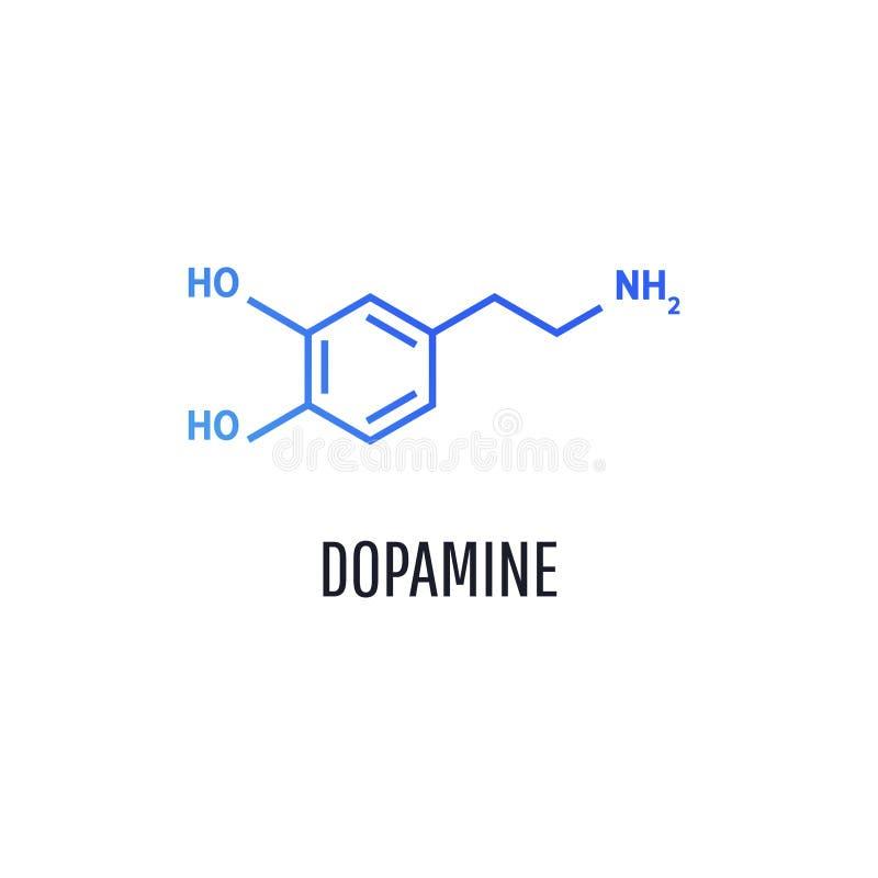 Dopamine moleculaire formule Het pictogram van toestellen royalty-vrije illustratie