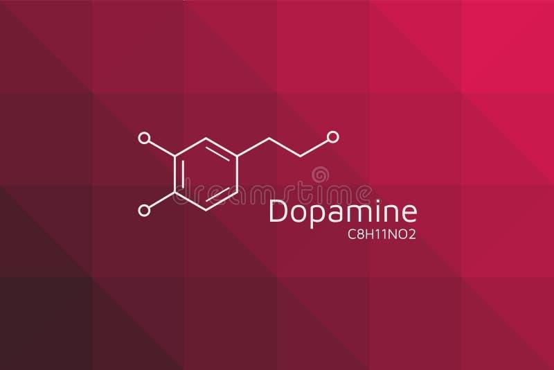 Dopamine moleculaire structuur Driehoekige rode zwarte gradiënt stock illustratie