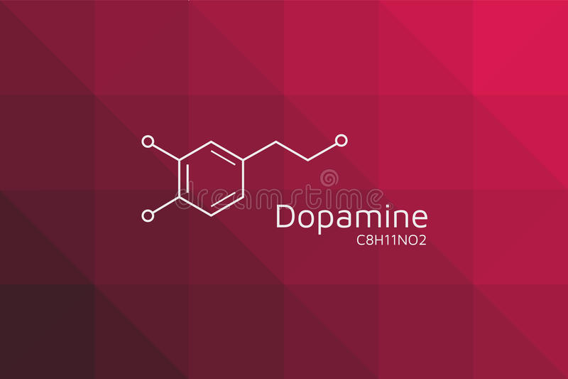 Dopamine molecular structure. Triangular red black gradient. stock illustration