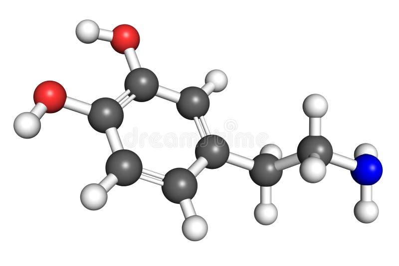 Dopamine molecule royalty-vrije illustratie