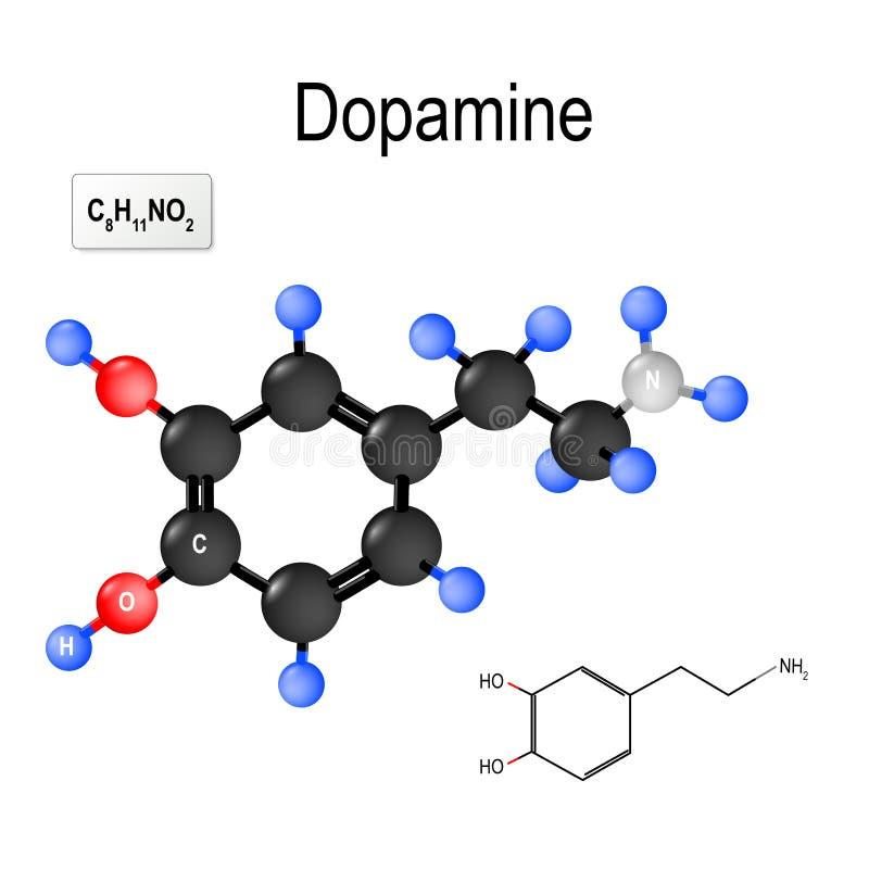 dopamine Strukturell kemisk formel och modell av molekylen stock illustrationer