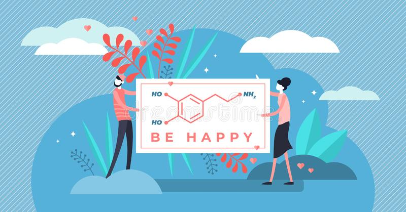 Dopamine vector illustration. Flat tiny chemical happiness persons concept. vector illustration