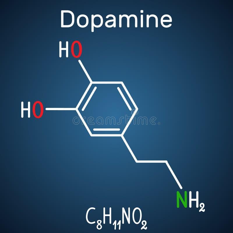 DopamineDA-molekyl Strukturell kemisk formel och molecul royaltyfri illustrationer