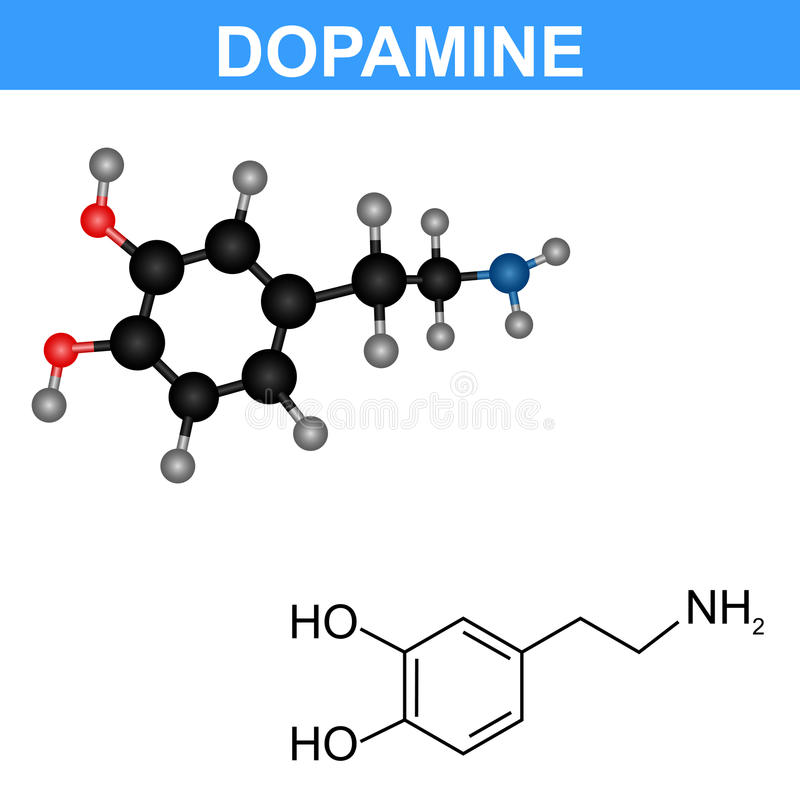 Dopaminemolekylmodell vektor illustrationer