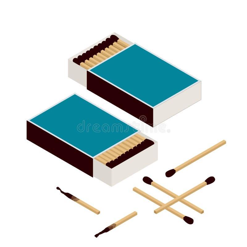 Dopasowania i matchbox Odizolowywający na bielu matchstick nowy zapałka spalania palący matchstick Płaski 3d wektor isometric ilustracji