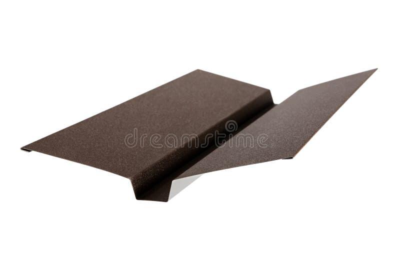 Dopasowania używać przy mieścą dach Metal płytka pojedynczy białe tło zdjęcia stock