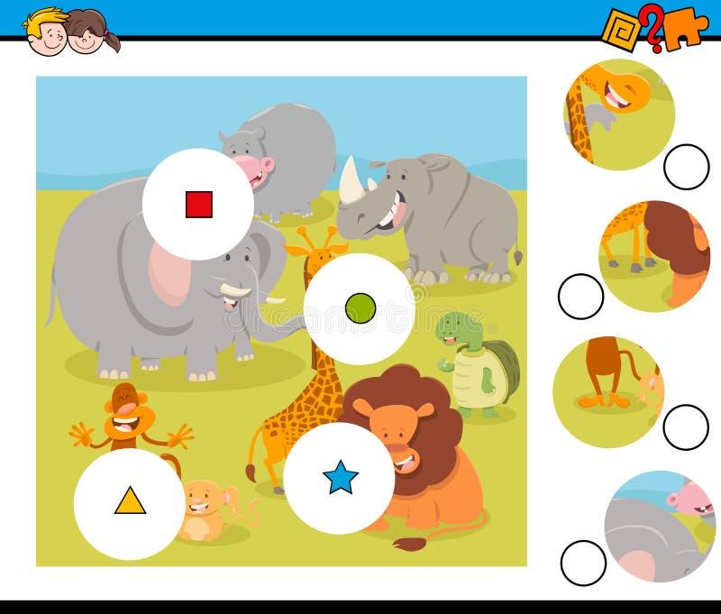Dopasowanie kawałków łamigłówka z safari zwierzętami ilustracji