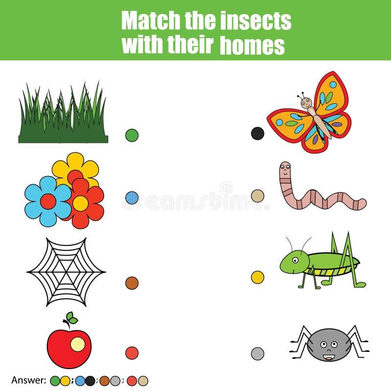 Dopasowywać dziecko edukaci grę, dzieciak aktywność Zapałczani insekty z domem Zwierzę temat ilustracja wektor