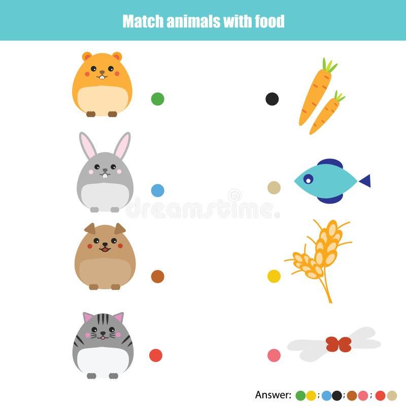 Dopasowywać dziecko edukaci grę, dzieciak aktywność Zapałczani zwierzęta z jedzeniem royalty ilustracja