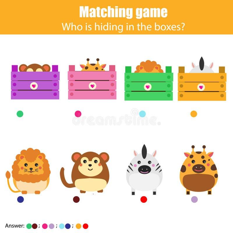 Dopasowywać dziecko edukaci grę, dzieciak aktywność Zapałczani zwierzęta z pudełkiem ilustracja wektor