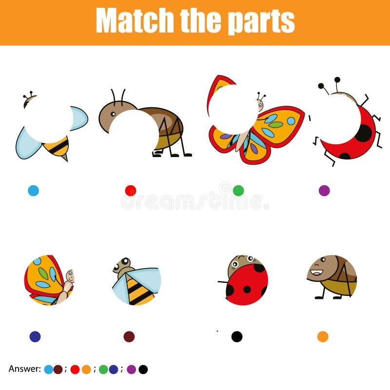 Dopasowywań dzieci edukacyjna gra Żartuje aktywność Zapałczane insekt części Znaleziska chybiania łamigłówka royalty ilustracja