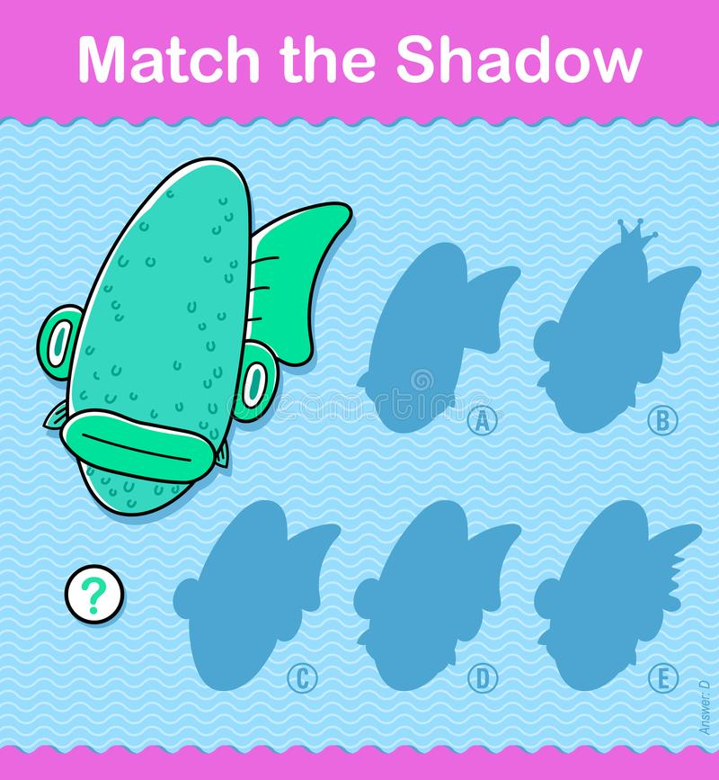 Dopasowywa cienia oceanu dzieciaków łamigłówki grę ilustracja wektor