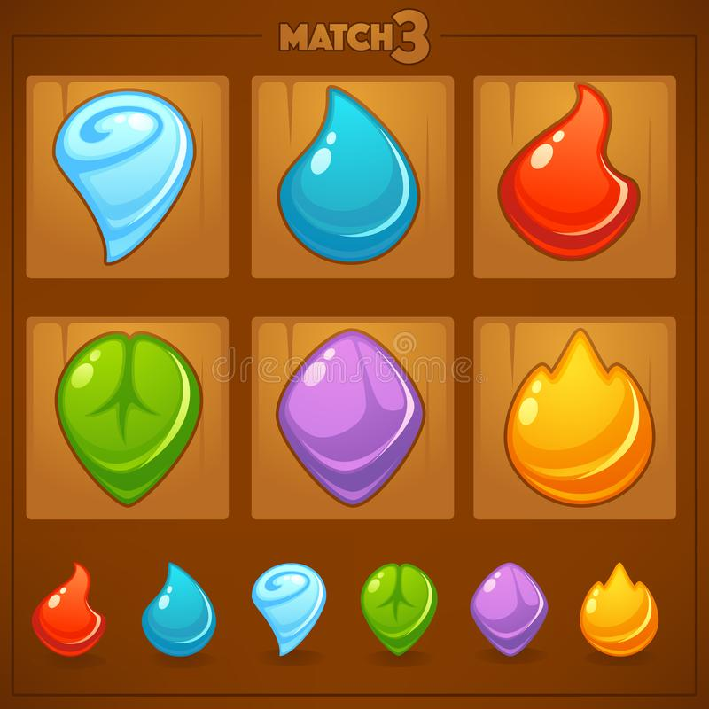 Dopasowywa 3 Mobilnej gry, gra przedmioty, ziemia, woda, ogień, ilustracja wektor