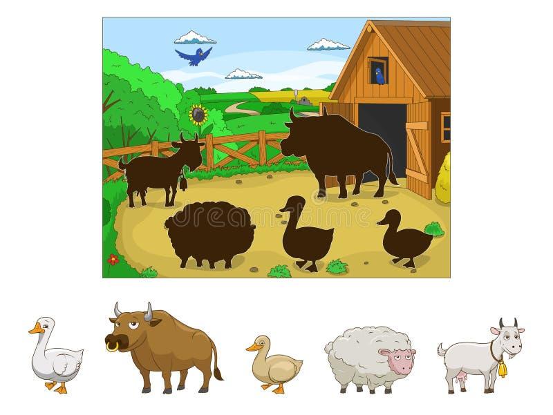 Dopasowywa zwierzęta ich cienia dziecka gra ilustracja wektor